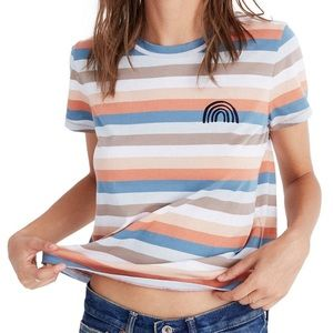 Madewell Embroidered Rainbow Stripe T-shirt Size S